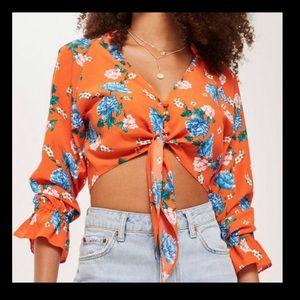 🌼NWT🌼 Topshop colorful floral tie crop top